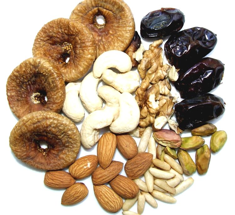 The combination of dried fruits and nuts provides a wide range of nutrients and antioxidants. Theses are concentrated sources and so eat sparingly