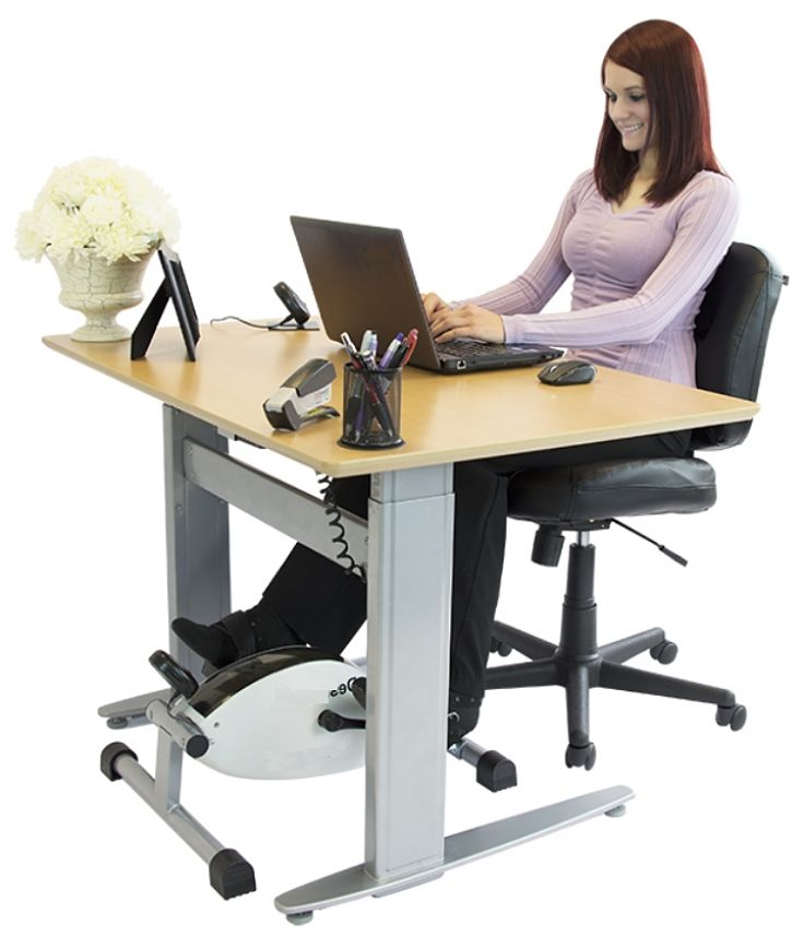 There are many under-the-desk cycling and other exercise devices that you can use sitting own at your desk when working. They work well and are intrusive.