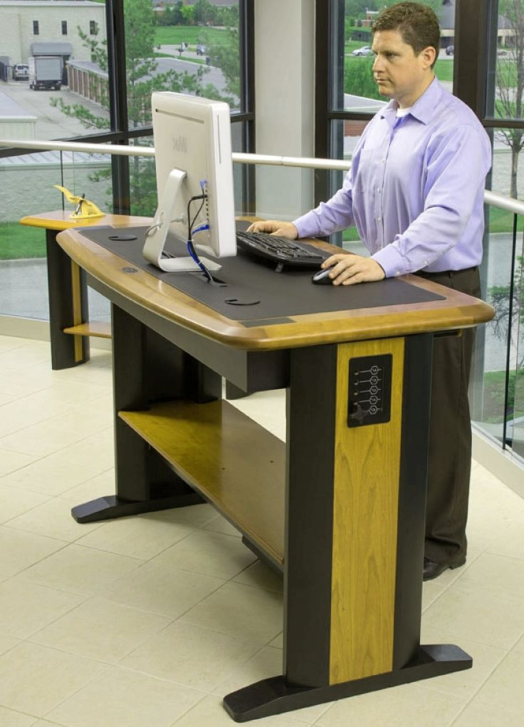 Stand-up desks are a good idea for many people as it avoids sitting down for long periods of time. There are many devices that fit to a standard desk rather than having to install purpose-built desks.