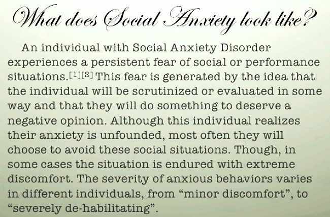 What does Social Anxiety Disorder mean to a sufferer